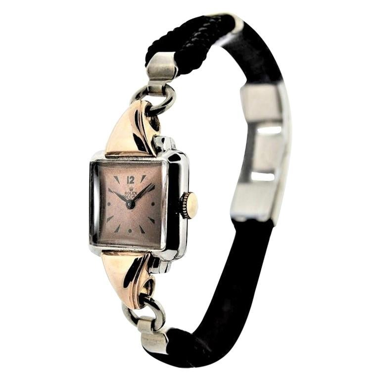 Rolex Ladies Rose Gold Stainless Steel Art Deco Manual Watch, circa 1940s For Sale
