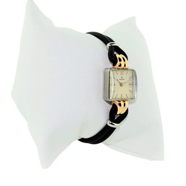 Rolex Ladies Rose Gold Stainless Steel Art Deco Manual Wind Watch Ref 3911 In Excellent Condition For Sale In Venice, CA