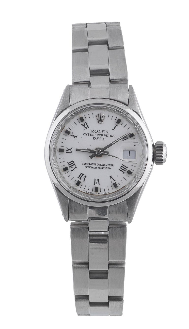 Rolex Ladies Stainless Steel Date White Roman Ref. 6516 In Good Condition For Sale In Firenze, IT