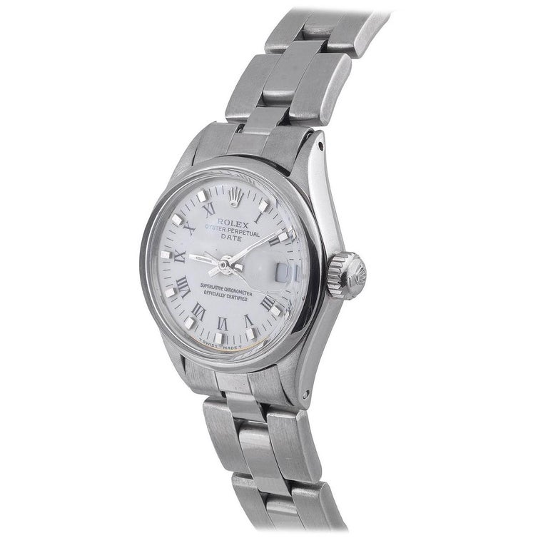 Rolex Ladies Stainless Steel Date White Roman Ref. 6516 For Sale