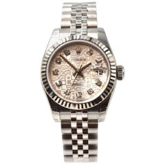 Rolex Ladies Stainless Steel Diamond Datejust Wristwatch Ref 179174