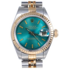 Rolex Ladies Steel Gold Datejust Custom-Colored Dial Wristwatch