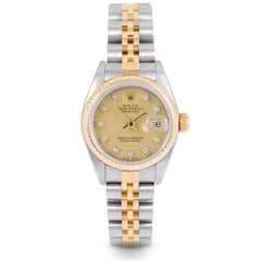 Rolex Ladies Two-Tone Datejust, Champagne Diamond, Fluted, Jubilee Band