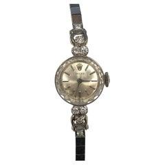 Rolex Ladies White Gold and Diamond Vintage Bracelet Mechanical Wrist Watch