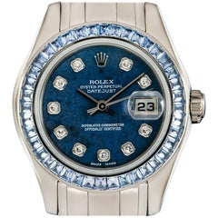 Rolex Ladies White Gold Diamond and Sapphire Pearlmaster Datejust