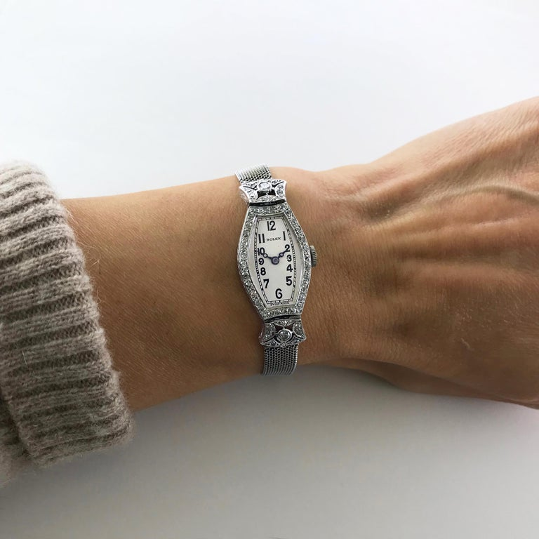 Rolex Ladies White Gold Diamond Chronometer Art Deco Wristwatch, 1926 For Sale 7