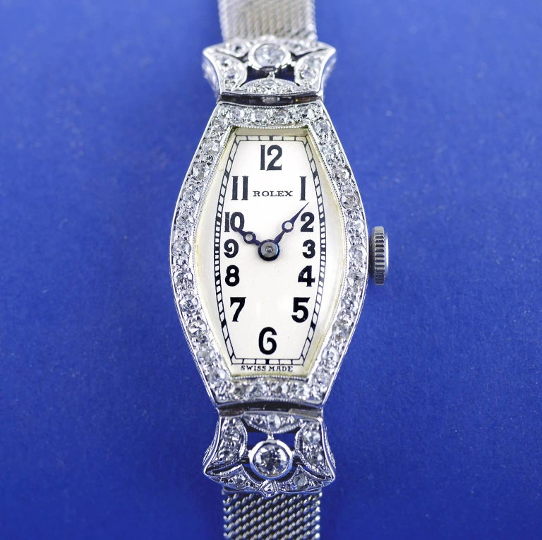 Rolex Ladies White Gold Diamond Chronometer Art Deco Wristwatch, 1926 In Excellent Condition For Sale In London, GB