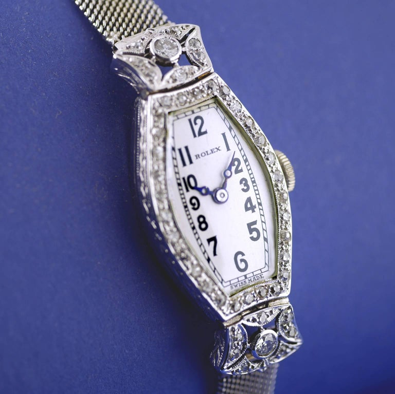 Women's Rolex Ladies White Gold Diamond Chronometer Art Deco Wristwatch, 1926 For Sale