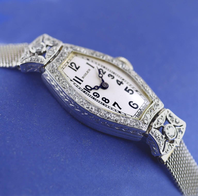 Rolex Ladies White Gold Diamond Chronometer Art Deco Wristwatch, 1926 For Sale 1
