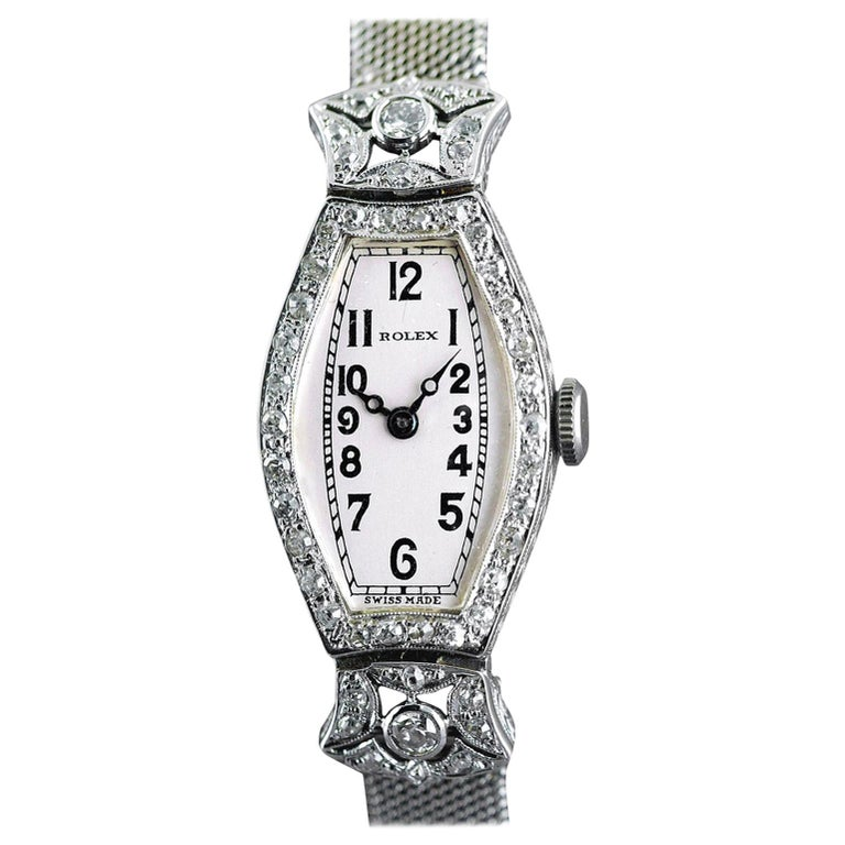Rolex Ladies White Gold Diamond Chronometer Art Deco Wristwatch, 1926 For Sale