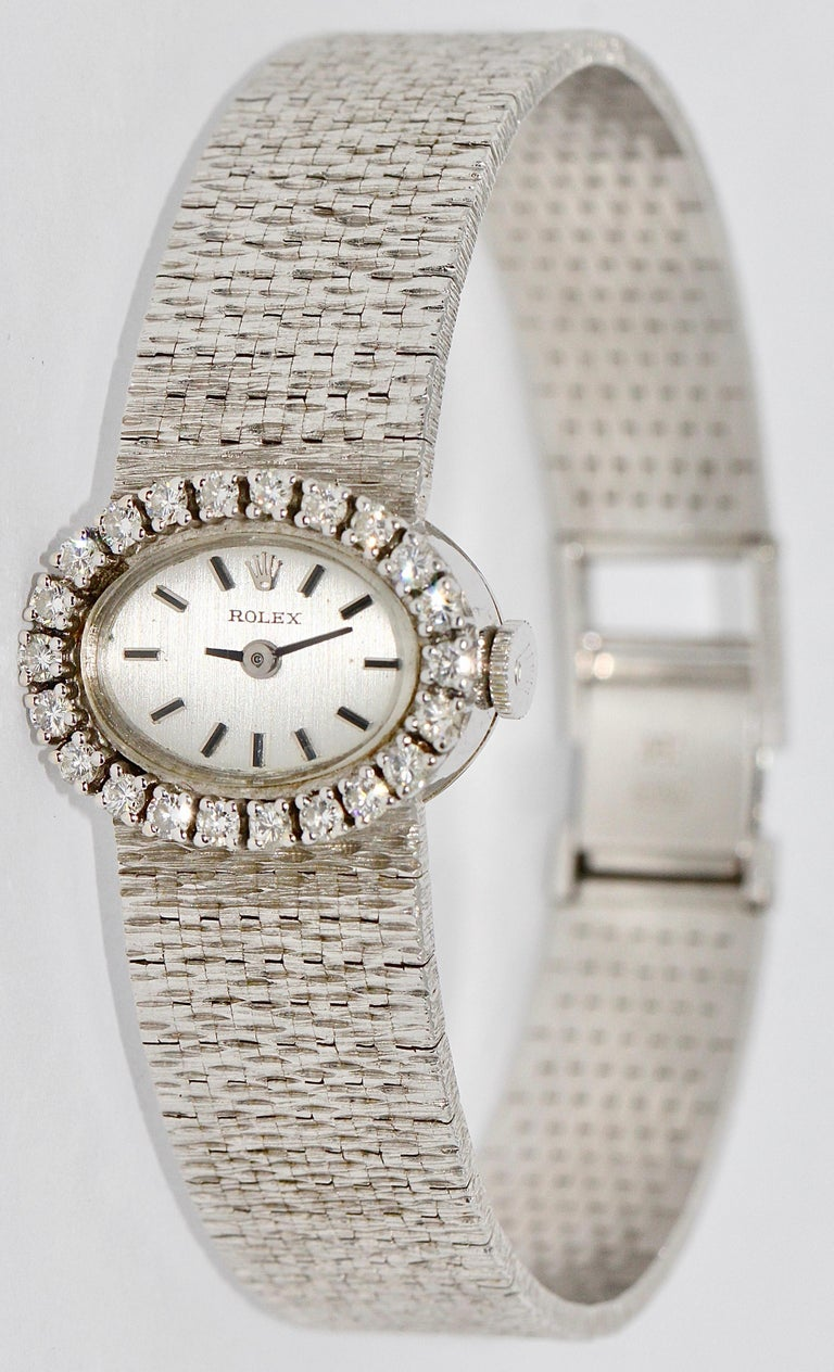 Rolex Ladies Wrist Watch, 18 Karat white Gold, with Diamonds.  Mechanical movement (manual wind). Very good condition.   Including certificate of authenticity.