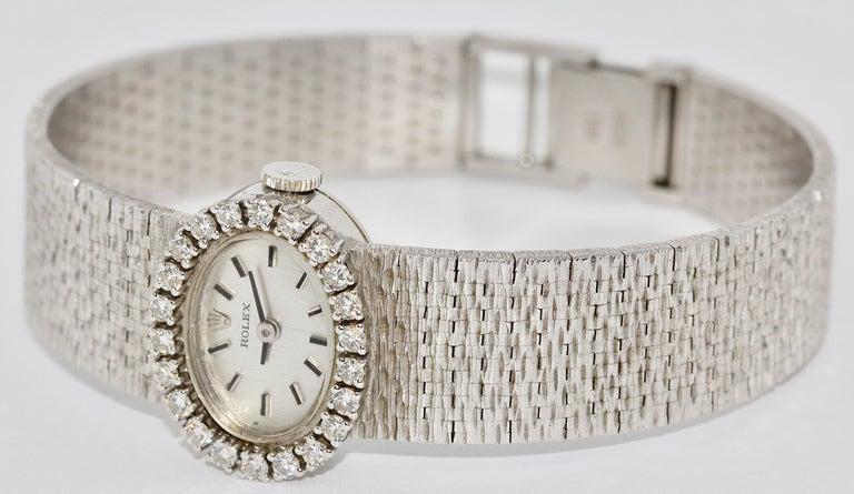 Round Cut Rolex Ladies Wristwatch, 18 Karat White Gold, with Diamonds, Manual Wind For Sale