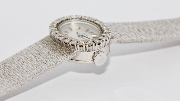 Rolex Ladies Wristwatch, 18 Karat White Gold, with Diamonds, Manual Wind For Sale 2