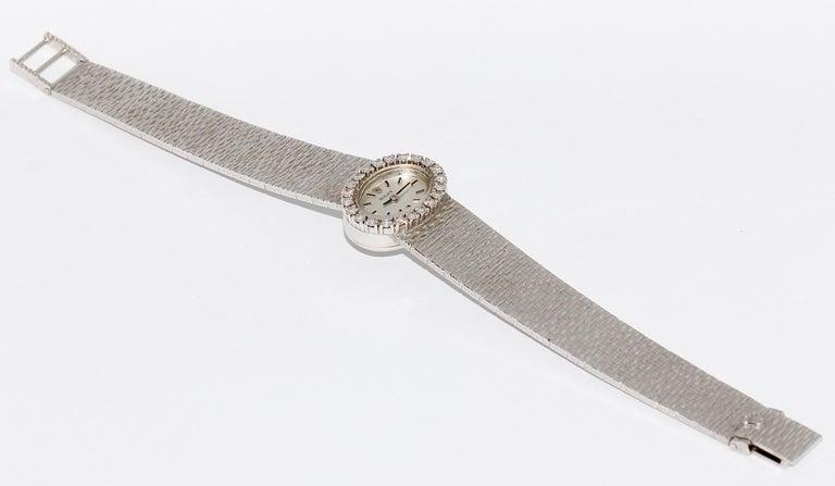 Rolex Ladies Wristwatch, 18 Karat White Gold, with Diamonds, Manual Wind For Sale 3