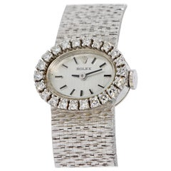 Rolex Ladies Wristwatch, 18 Karat White Gold, with Diamonds, Manual Wind