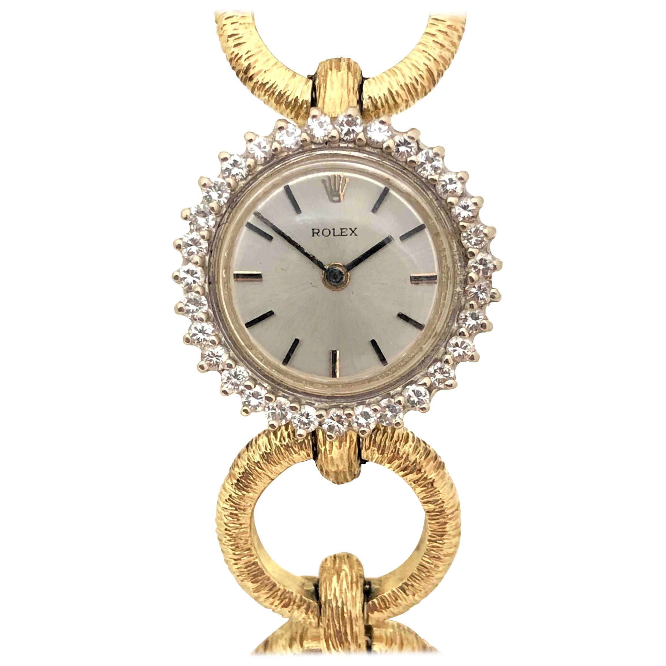 Rolex Ladies Yellow Gold and Diamond 1960s Bracelet Watch