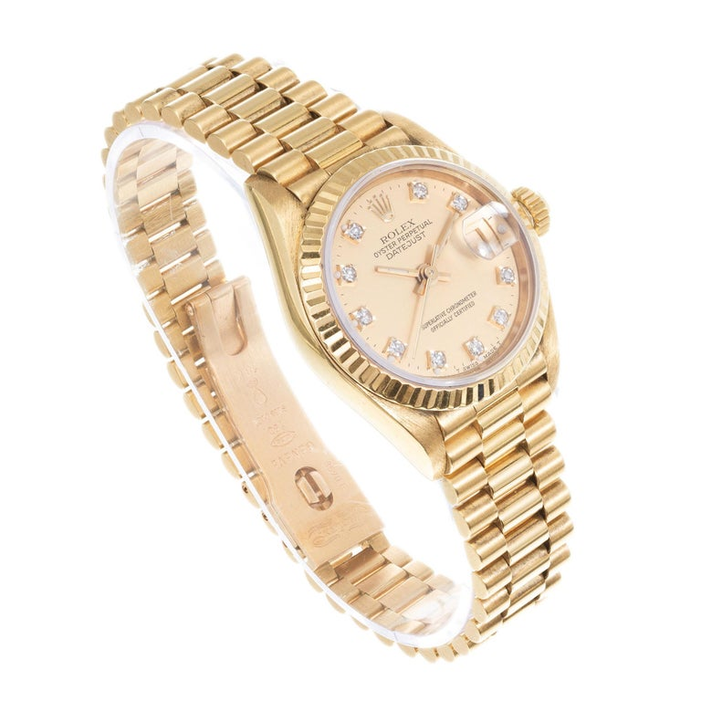 Round Cut Rolex Ladies Yellow Gold Diamond Dial Datejust Wristwatch Ref 69178 For Sale