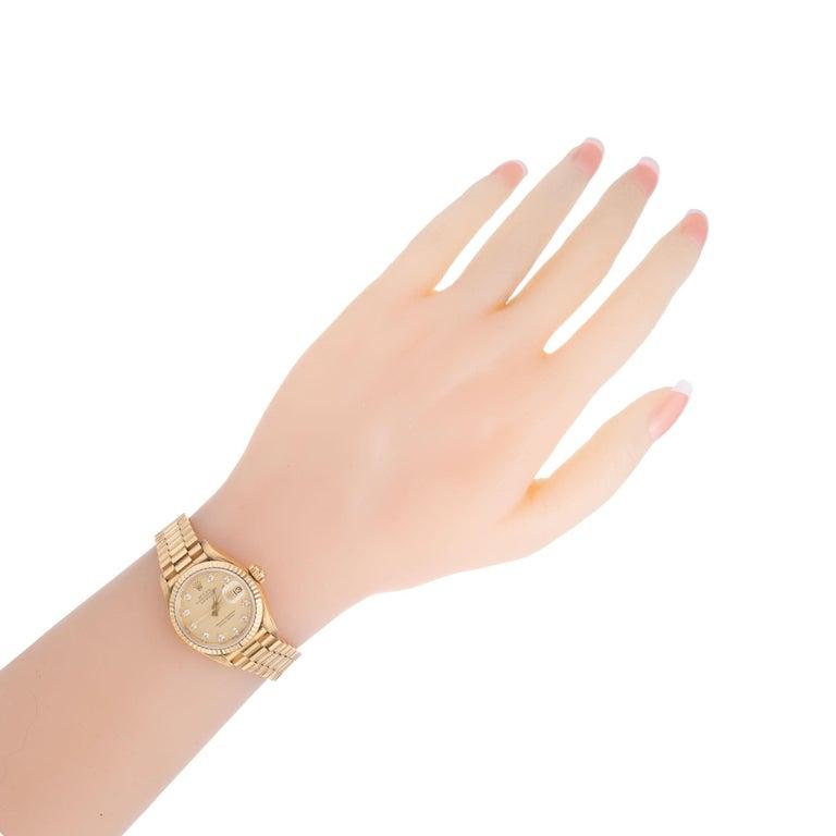 Rolex Ladies Yellow Gold Diamond Dial Datejust Wristwatch Ref 69178 For Sale 3