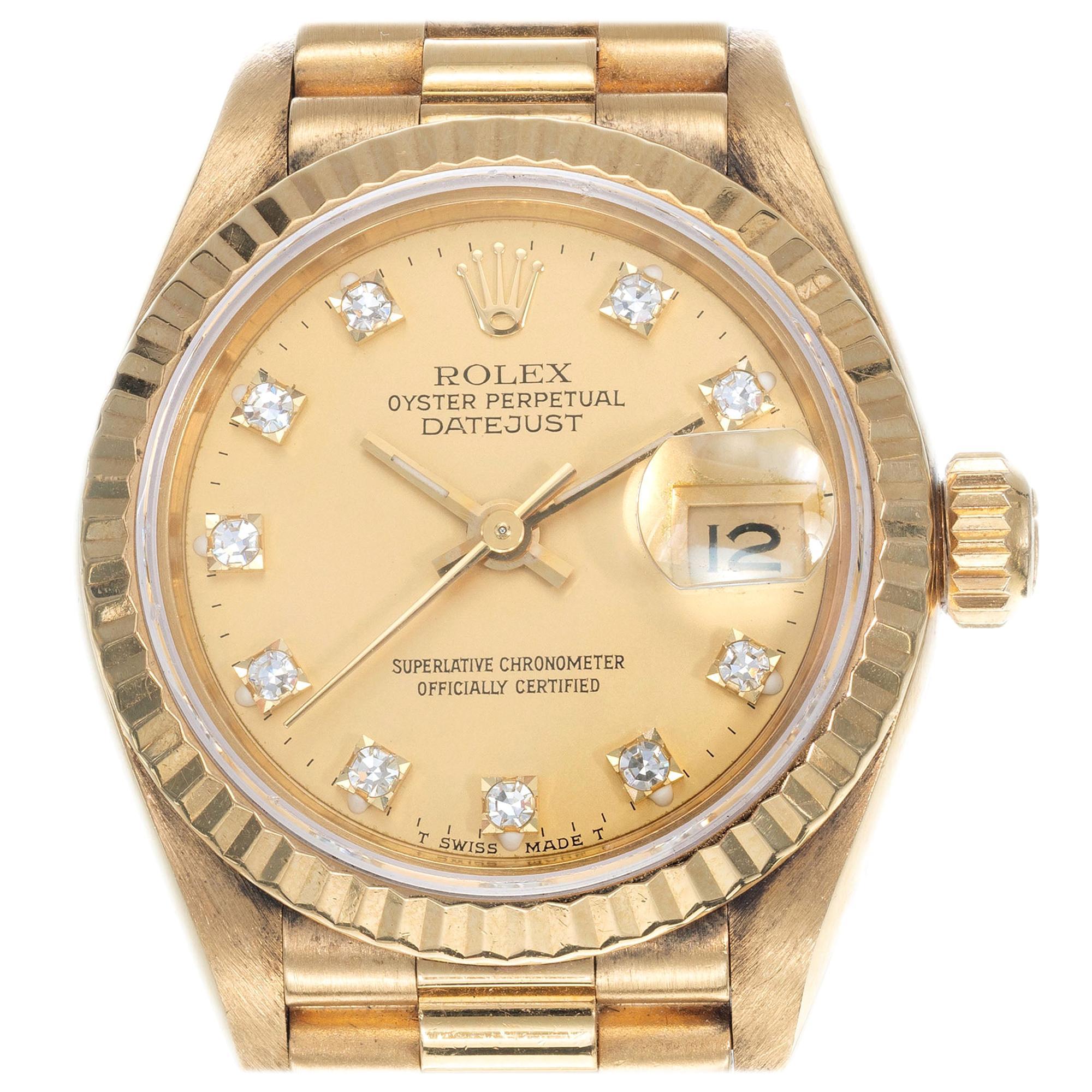 Rolex Ladies Yellow Gold Diamond Dial Datejust Wristwatch Ref 69178