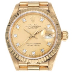 Rolex Ladies Yellow Gold Diamond Dial Datejust Wristwatch Ref 69178