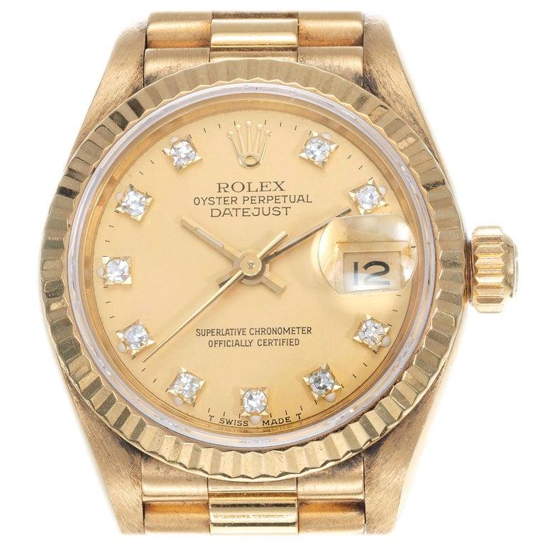 Rolex Ladies Yellow Gold Diamond Dial Datejust Wristwatch Ref 69178 For Sale