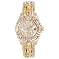 Rolex Ladies Yellow Gold Diamond Masterpiece Pearlmaster Wristwatch Ref 69298
