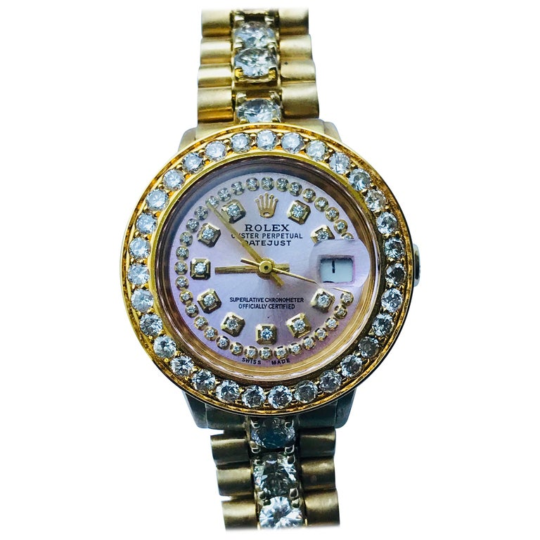 85599661fd6 Rolex Ladies Yellow Gold Diamond Oyster Perpetual Datejust Automatic  Wristwatch For Sale