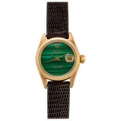 Rolex Ladies Yellow Gold Malachite Dial Datejust Automatic Wristwatch, 1980s