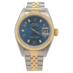 Rolex Ladies yellow gold stainless steel Datejust Blue Dial Wristwatch, C 1996