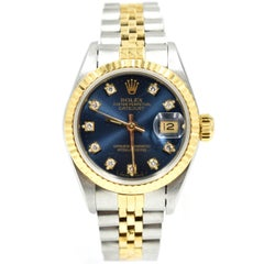 Rolex Ladies Yellow Gold Stainless Steel Datejust Blue Diamond Dial Wristwatch