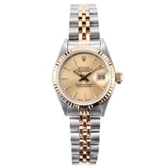 Rolex Ladies Yellow Gold Steel Datejust Wristwatch Ref 69173
