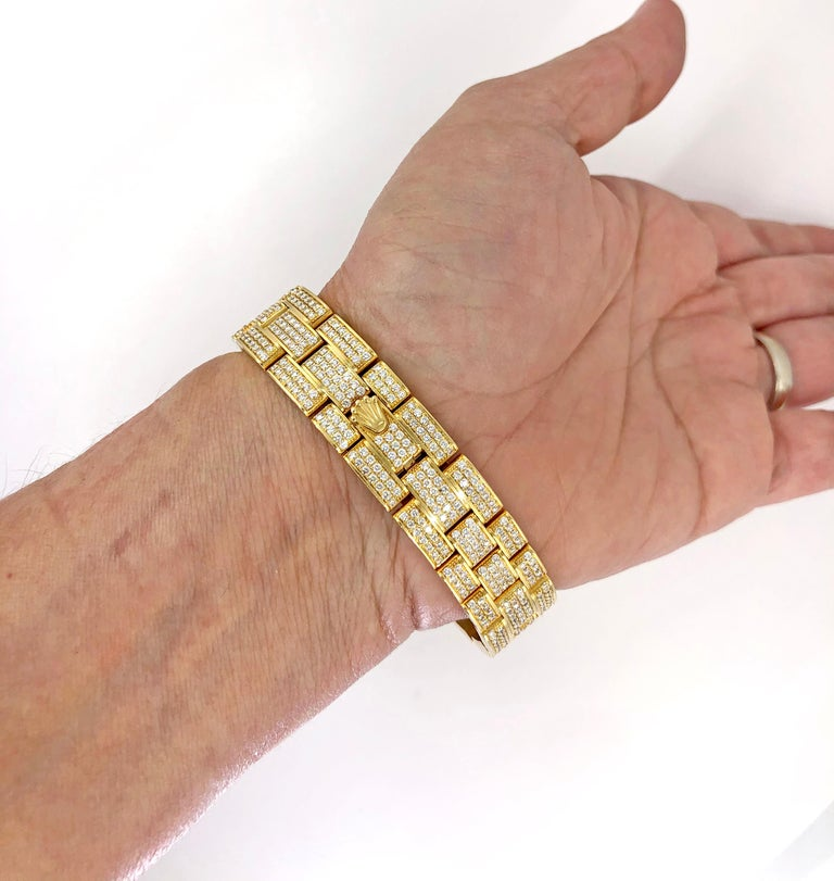 Round Cut Rolex Lady Datejust Diamond Yellow Gold Oyster Automatic Wristwatch For Sale