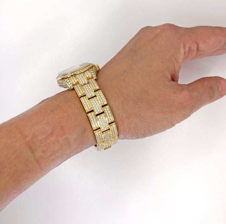 Rolex Lady Datejust Diamond Yellow Gold Oyster Automatic Wristwatch In Good Condition For Sale In New York, NY