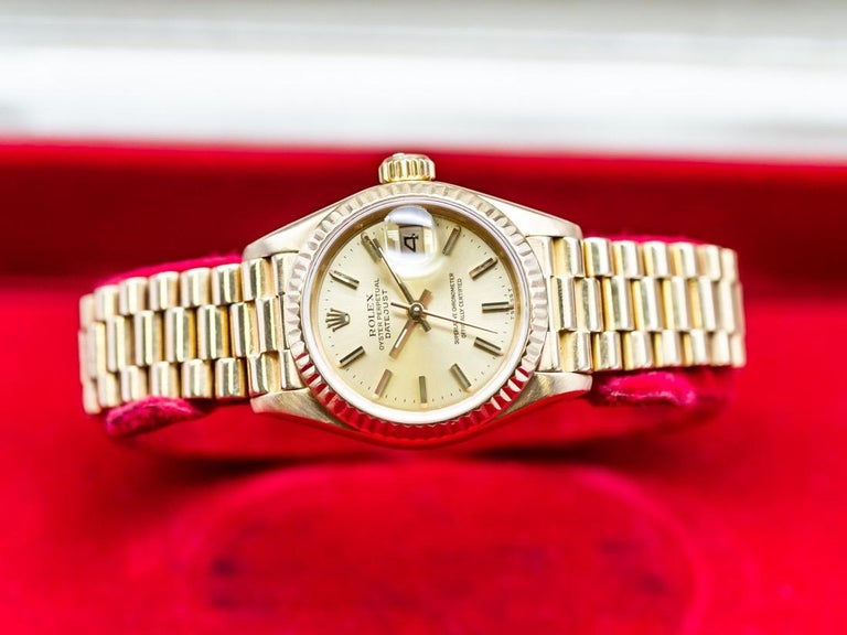 Rolex Lady-Datejust 69173 Gold In Excellent Condition For Sale In Vannes, FR