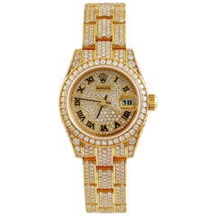 Rolex Lady Datejust Diamond Yellow Gold Oyster Automatic Wristwatch