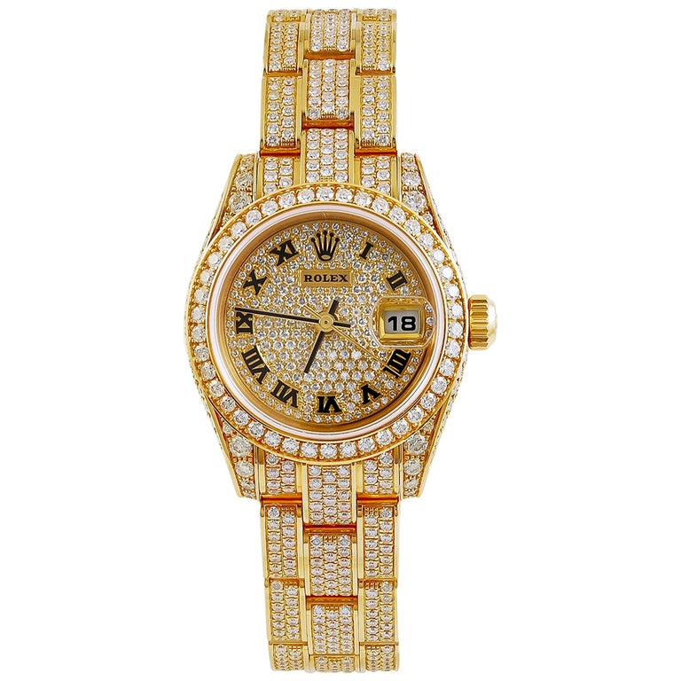 Rolex Lady Datejust Diamond Yellow Gold Oyster Automatic Wristwatch For Sale