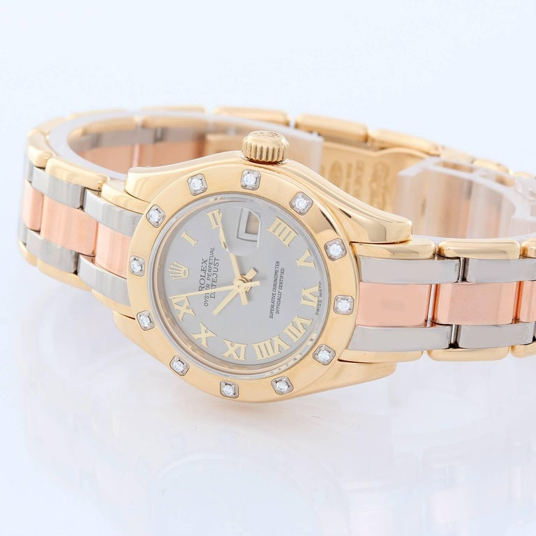 Rolex Lady Datejust Pearlmaster 18k Yellow Gold Ladies Diamond Watch 80318 -  Automatic winding, 31 jewels, Quickset, sapphire crystal. 18k yellow gold case with factory 12 diamond bezel (29mm diameter). Slate silver dial with yellow gold Roman