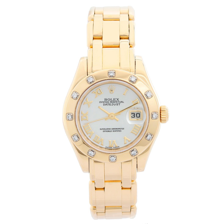 Rolex Ladies Datejust Pearlmaster 18 Karat Gold Ladies Diamond Watch 80318