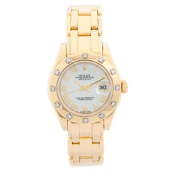 Rolex Ladies Datejust Pearlmaster 18 Karat Gold Ladies Diamond Watch 80318