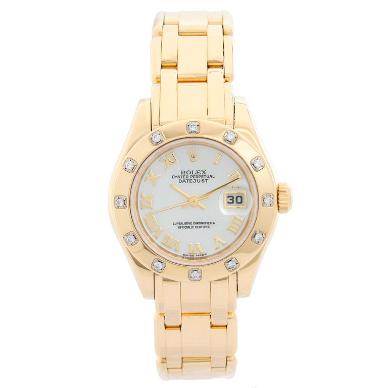 Rolex Ladies Datejust Pearlmaster 18 Karat Gold Ladies Diamond Watch 80318 For Sale