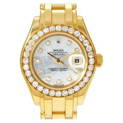 Rolex Lady-Datejust Pearlmaster Yellow Gold with Diamond Bezel Watch 80298