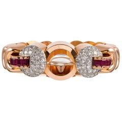 Rolex Lady's Retro Diamond and Ruby Bracelet Watch