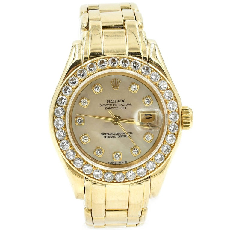 Rolex Ladies yellow gold Diamond Mother-of-Pearl automatic Wristwatch Ref 69298