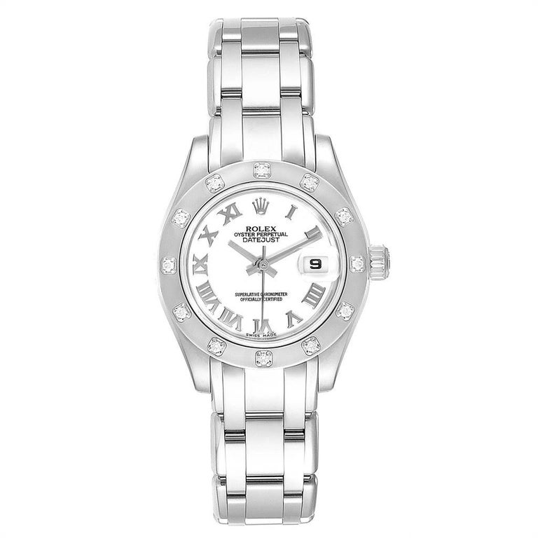 Rolex Masterpiece Pearlmaster White Gold Roman Dial Diamond Watch 80319. Officially certified chronometer self-winding movement with quickset date function. 18k white gold oyster case 29.0 mm in diameter. Rolex logo on a crown. 18k white gold