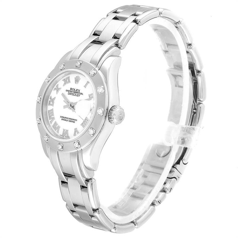 Rolex Masterpiece Pearlmaster White Gold Roman Dial Diamond Watch 80319 In Excellent Condition For Sale In Atlanta, GA