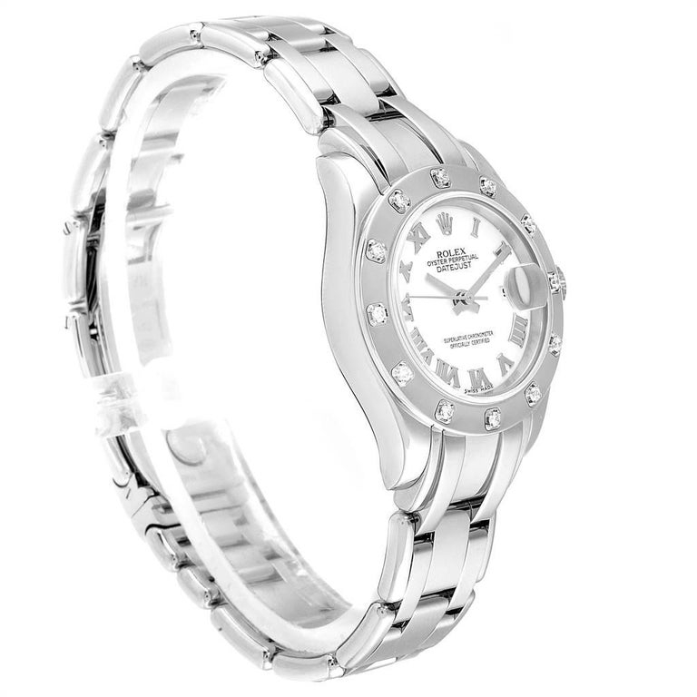 Women's Rolex Masterpiece Pearlmaster White Gold Roman Dial Diamond Watch 80319 For Sale