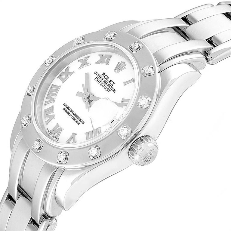 Rolex Masterpiece Pearlmaster White Gold Roman Dial Diamond Watch 80319 For Sale 1