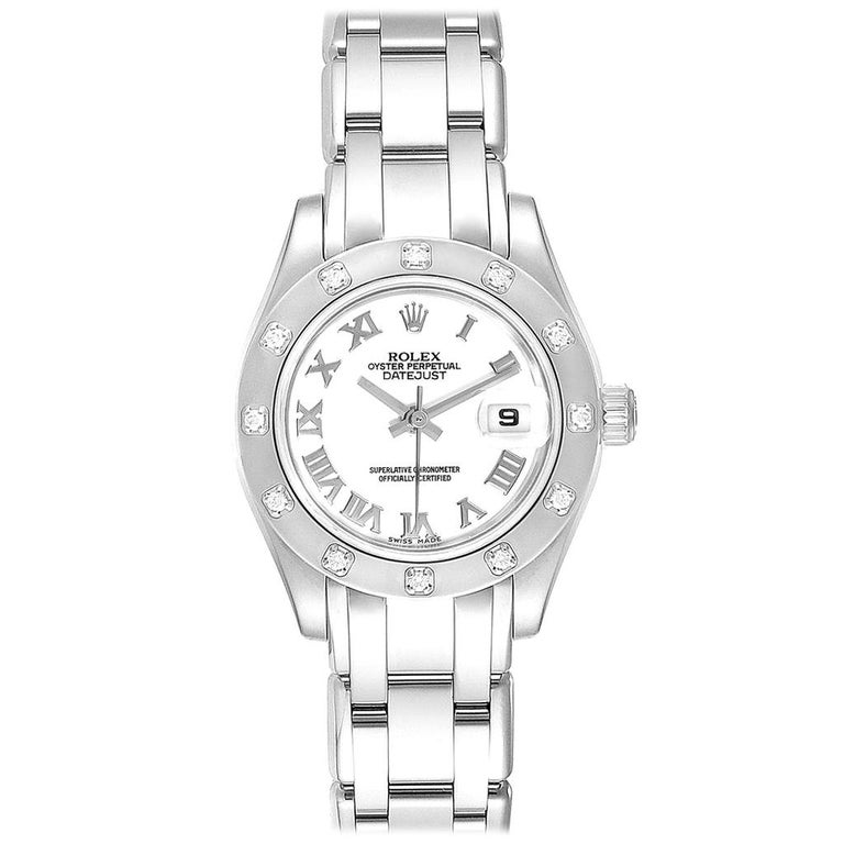Rolex Masterpiece Pearlmaster White Gold Roman Dial Diamond Watch 80319 For Sale