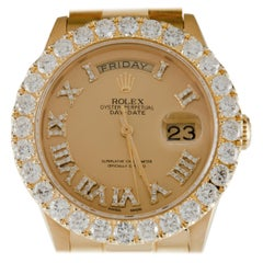 Rolex Men's 18k Yellow Gold President 18038 with Diamond Dial and Bezel