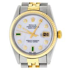Rolex Mens Datejust 16013 SS and 14K Yellow Gold MOP Diamond Dial Fluted Bezel